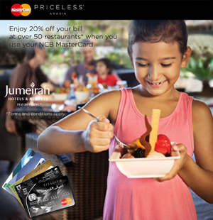Jumeirah Summer Dining Offer with NCB MasterCard Credit Cards